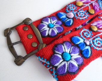 "Handmade Embroidered women's belt size 32"" to 40"" in red, organic fashion 2017"