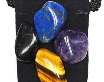 PSYCHIC ATTACK BLOCKER Tumbled Crystal Healing Set - 4 Gemstones w/Description & Pouch- Amethyst, Tourmaline, Lapis Lazuli, Tiger's Eye
