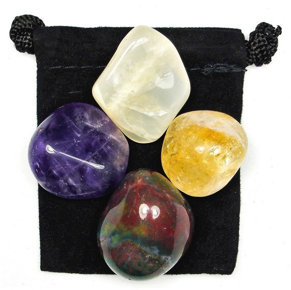 PSYCHIC INTUITION Tumbled Crystal Healing Set - 4 Gemstones w/Description and Pouch - Amethyst, Bloodstone, Citrine, and Moonstone