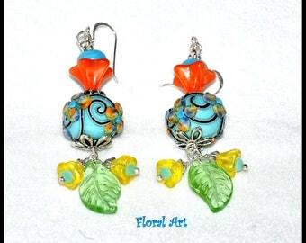 Blue Earrings,Floral Earrings,Lampwork Bead Earrings,Dangle Earrings,Colorful Earrings,Flower Jewelry,Orange Earrings - FLORAL ART
