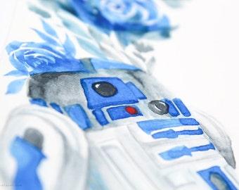 Original R2D2 Star Wars Floral Watercolor Artwork