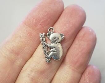 5 Metal Antique Silver Koala Bear Charms - 20mm