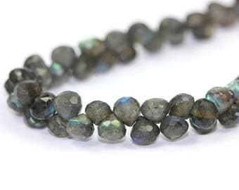 Labradorite Micro Faceted Onion Briolette set of 4 Blue Yellow Green Flash Grey Semi Precious Gemstones