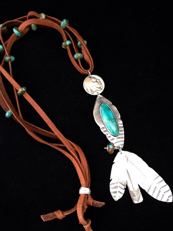 Handmade, One-of-a-kind, Southwestern, Boho, feather, Arrow, Blue Kingman Turquoise, Vintage Indian Head Nickel, Brown leather necklace