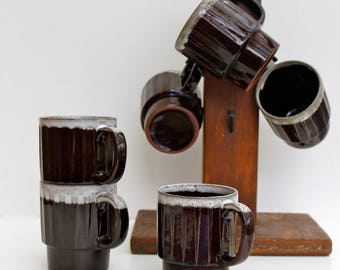 Set of 6 vintage stackable coffee cups