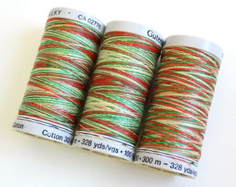 Christmas embroidery thread, Variegated cotton thread, Gutermann variegated Sulky cotton, multicoloured sewing embroidery thread, Shade 4104
