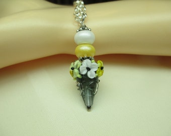 Elegant Yellow and Slate Grey Lampwork Bead Pendant Necklace