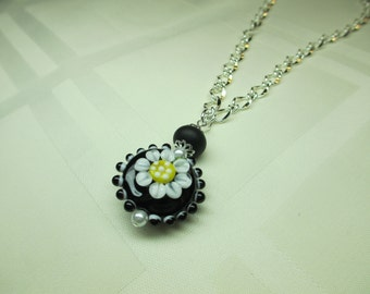 Black and White Lentil Lampwork Bead Necklace