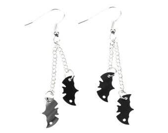 Bat earrings bats Miniblings black silver 2 bats Necklace