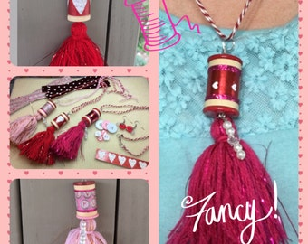 Valentine Thread Spool Tassel Necklace & Flower Button Earrings