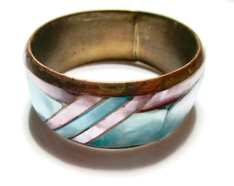 Vintage Bangle Bracelet Pink and Blue Inlaid Abalone Wide Brass MOP Cuff 1960s