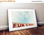 25% OFF SALE // modern horizontal art print, retro office art, bedroom art, york beach, maine photography - Fun O Rama, art print