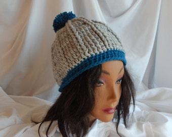 Crochet Pom Pom Hat Beanie - Gray and Windsor Blue - Woman's Fashion Hat