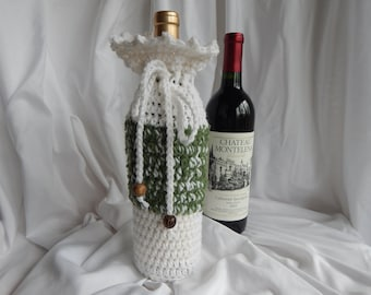Wine Bottle Cover - Crochet Wine Cozy - Green and White with Wood Beads