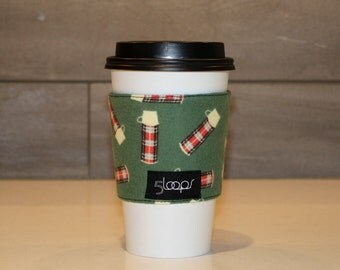 Reusable Coffee Cup Cozy in Plaid Thermos Print Flannel Fabric Thermos Print Resuable Coffee Cup Sleeve