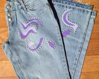 Vintage 90s embellished flare leg jeans