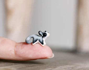 Tiny clay sugar glider - miniature handsculpted flying squirrel figurine