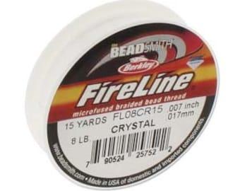 8 lb Fireline Thread, 15 Yard Spool, 8 lb Crystal Fireline, Fireline Spool, Strong Weaving Thread, White Weaving Thread, Seed Bead Weaving