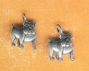 Bulldog Dog Charm, 4 Pieces, Antique Silver Dog Charm, Marine Corp Dog, Georgia Bulldog, Gonzaga, Butler, Guard Dog, Yale, Georgetown, Dog