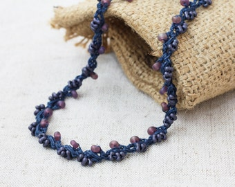 Crochet beaded necklace Boho chic Rustic Bohemain jewelry Handcrafted artisan linen jewelry Blue purple necklace Summer fashion