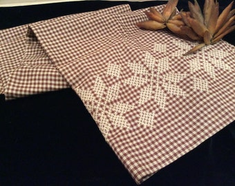 Antique Brown Gingham Fabric Butcher String Embroidered, Vintage Textiles, Vintage Material, Vintage Fabric