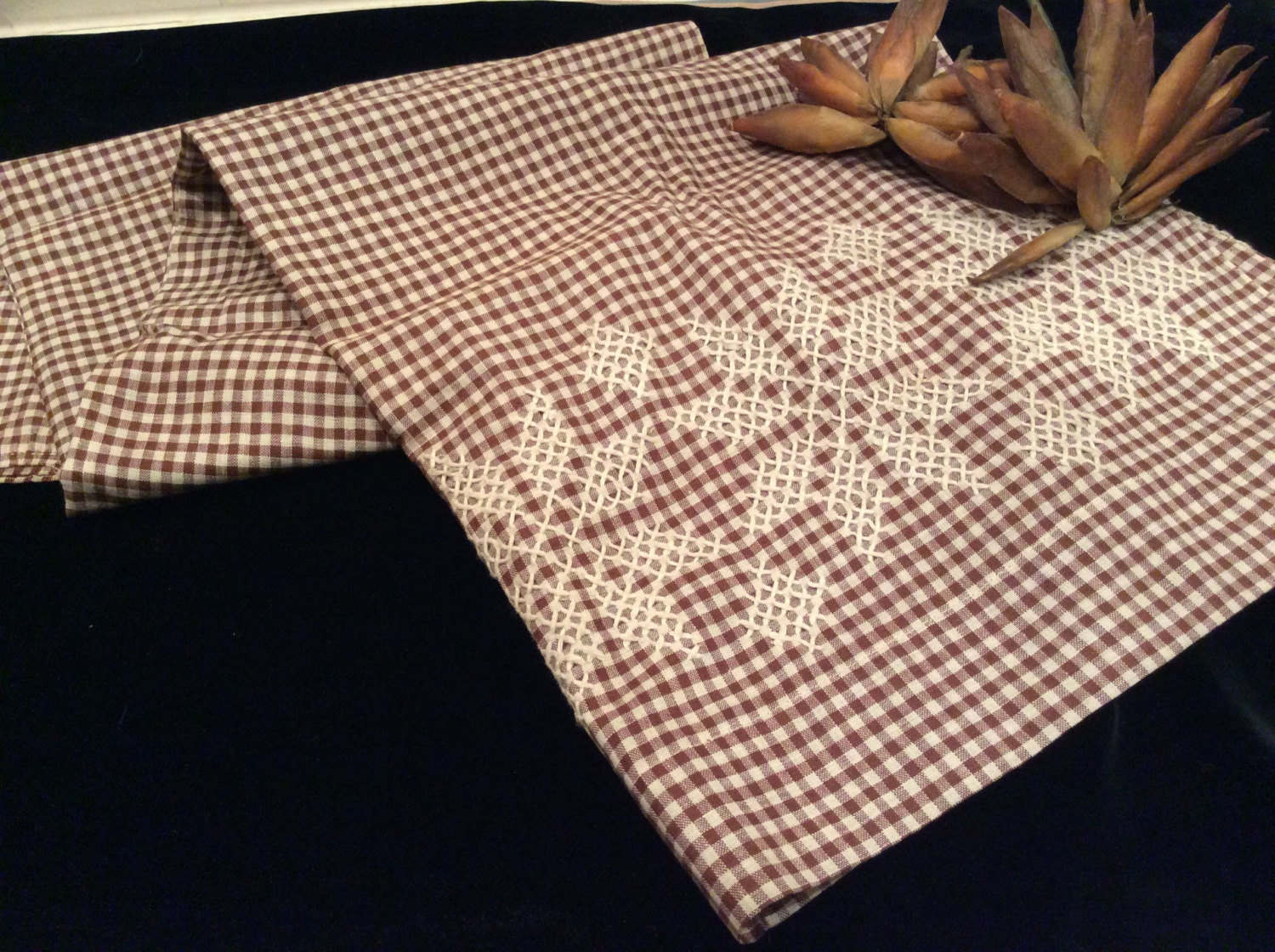 Antique brown gingham fabric butcher string embroidered