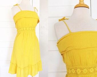 Yellow Crochet Dress // Golden Spaghetti Strap Sundress // Size Small Medium
