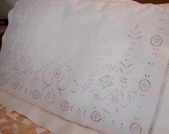 Antique Pillow Layover Beautiful Embroidery and Drawnwork White Pillow Cover Antique Bed Linens