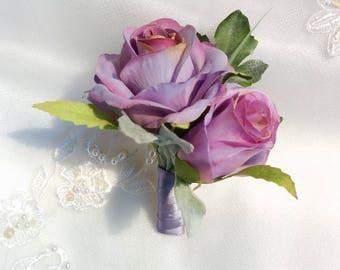 Wedding Silk Lavender Light Purple Roses Silk Boutonniere