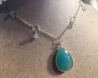 Aqua Necklace - Chalcedony Gemstone Jewelry - Sterling Silver Jewellery - Pendant - Fashion - Chain