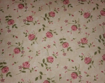 Rambling Rose  by Sands Gervais for moda small pink roses on cream