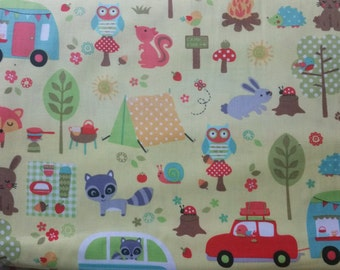 Camp out by Micheal Miller racoon, bunnies, mushrooms, tents, trees, foxes, owls and more on bright green quilt fabric