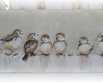 Original Shabby Style Babybirds on Board
