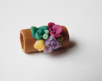 miniature succulent dread bead, polymer clay large hole bead