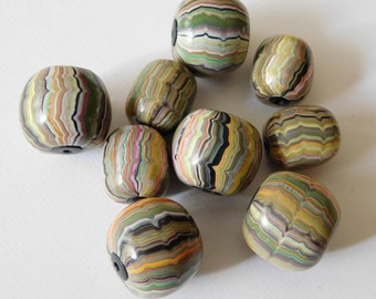 Polymer Clay Beads, handmade bead set of 9