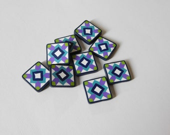 Polymer Clay Buttons - quilt block tiles for jewelry and crafts - polymer clay charms, beads