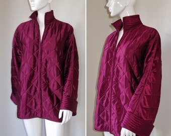 Vintage 1980s Valentino Boutique Wine Colored Quilted Satin Jacket