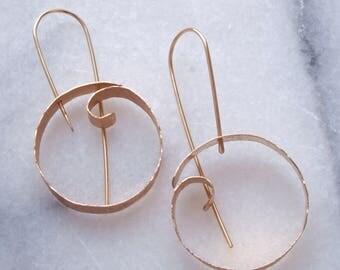 Wave hoop earrings. gold hoops, gold earrings, minimal earrings, ocean jewelry, bronze jewelry, bohemian jewelry, harmony winters
