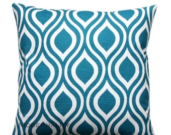 SALE Blue Toss Pillow, Dark Turquoise Pillow, Aquarius Nicole Pillow Cover, Zippered Pillow, Cushion Cover, Couch Pillow, Bed Pillows, Blue