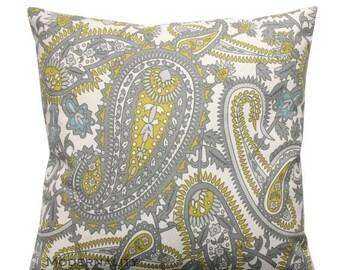 SALE Paisley Pillows, Summerland Henna Pillow, Citrine Pillow Cover, Zippered Pillow, Green Cushion Cover, Decorative Pillow, Yellow Throw P