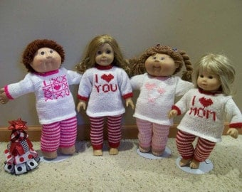 Lounging Pants and Long Sleeve Top Pajamas 15 Inch Dolls 18 Inch Dolls American Girl and Cabbage Patch Dolls Hand Made Knit Doll Clothes