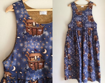 Noah's ark novelty print dress adult women oversized jumper dress