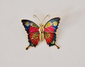 Butterfly Enamel Pin, Gold and Glittered Boho Butterfly Pin