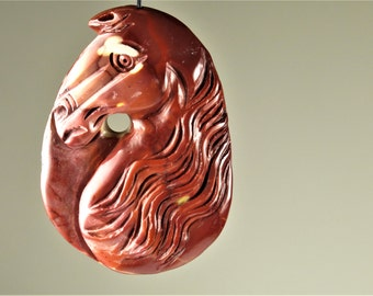 Athletic Beauty - Large Australian Mookaite Carved Horse Head Pendant - 57mm x 40.5mm x 11mm - B6573