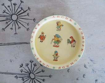 Old Porcelain Baby Dish with Chicks and Roosters C & P Co 1935 Childs Bowl