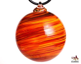 Deluxe Hand Blown Glass Ornament - Hot Color Swirls