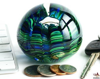 Art Glass Paperweight - Blue and Sparkly Green with Organic Sea Life Shape and Bubble