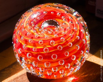 Handcrafted Art Glass Paperweight - Red Yellow and Orange Streaks with Bubble Grid - Small