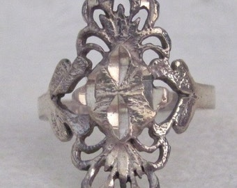 Vintage Sterling Silver Filagree Ring Size 6 Scroll Swirl Fan Design