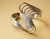 Ice Blue Crystal Quartz Silver Geometric Bangle Bracelet